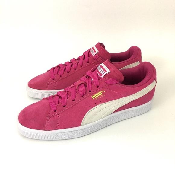 Puma Fuchsia Leather Suede Classic Sneakers Size 7